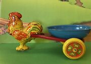 Vintage Wyandotte Tin Toy Easter Chicken Pulling Egg Cart Candy Container Rolls