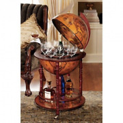 Old World Globe Bar Cocktails Wheeled Wine Storage Covered Home Rolling Décor