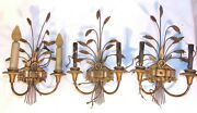 3 Hollywood Regency Wheat Carved Wood Wrought Metal Wall Sconces Signed