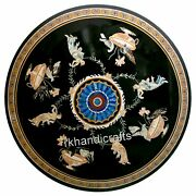 48 Inches Royal Pattern Inlaid Conference Table Round Marble Dining Table Top