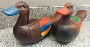 Japanese Wooden Decoy Ducks 8x5x3 Hand Carved And Painted Rare