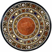 48 Inches Marble Dining Table Top Inlay With Carnelian Stone Art Reception Table