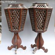 Chinese Ancient Huanghuali Wood Hand Carving Candle Stick Oil Lamp Statue Pair
