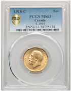 Best Price 1918 C Canada Gold Coin Sovereign George V Ms63 Pcgs