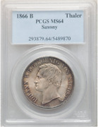 Only 1 Better 1866 B Germany Saxony Taler Coin Thaler Pcgs Ms64 Unc, Old Slab