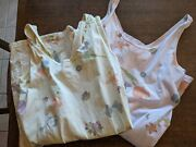 Lot Of 2 Summer Floral Cotton Knit Tank Sheath Dresses By Stamp L
