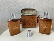 Vintage Mexican Tooled Leather Flask Case 2 Flasks