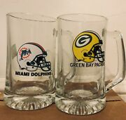 Vintage Official Nfl Beer Mugs For Miami Dolphins And Green Bay Packers