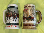 Lot Of 2 Budweiser Clydesdale's Holiday Beer Stein Mugs 1981 And 1982 Brazil