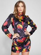 New Guess By Marciano Dynasty Print Amber Floral Chiffon Dress Xxs