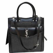 Yves Saint Laurent Uptown Small Canvas Leather Tote Bag Black