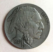Large 3 Inch Buffalo Nickel 1937 / Novelty Medal / Coin / Coaster / Paperweight