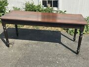 Antique Walnut Frm Harvest Table Turned Legs Dining 6 Ft Long Country Look