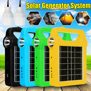 Solar Panel Power System Kit Charging Generator 2led Bulb Outdoor Camping Travel