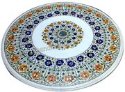 42 Inches Marble Dining Table Top Inlay Patio Furniture With Multi Gemstones Art