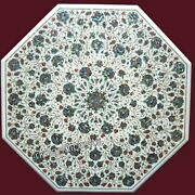 42 Inches Marble Patio Dining Table Top Hand Inlaid Reception Table Floral Work