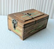 Vintage Handmade Wooden Shaving / Makeup Box With Mirror Old Collectible Bq-82