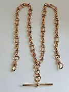 9ct 375 Rose Gold Fancy Link Albert And T-bar 18.75 Necklace 29g Clip Clasp