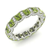 Certified 14k Solid White Gold 3.88 Ct Peridot Round Real Diamond Band Size M