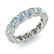 Solid 14k White Gold 3.88 Ct Natural Round Diamond Real Aquamarine Bands Size N