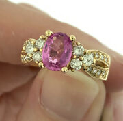 Vintage 1.34ctw Oval Pink Sapphire And Diamond Ring In 14k Yellow Gold Size 5.75