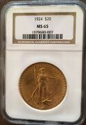 Certified 1924 St.gaudens Double Eagle 20 Gold Coin Ngc Ms65 Rare