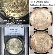 1921-p Morgan Vam-3a2 Spiked Tail Feather Die Gouge State 2 Pcgs Ms64 Finest