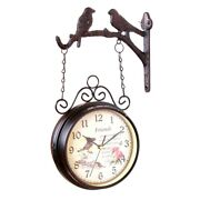 5xeuropean-style Double Sided Wall Clock Creative Classic Clock Monochrome Home