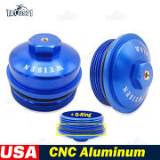 Aluminum Oil And Fuel Filter Caps For 03-07 Ford F-series 6.0l Powerstroke Diesel