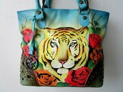 Anuschka Tiger In Love Hand Painted Leather Studded Shopper Tote Purse - Nwt