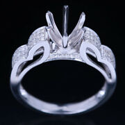 Retro Can Hold 6.5mm Round Gem Stone 14k White Gold Engagement Semi Mount Ring