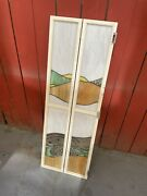 """Antique / Vintage Arts And Crafts Figural Stained Glass Panel, Desert Motif, 44"""""""