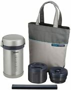 Zojirushi Thermos Thermal Insulation Lunch Box With Lunch Bag Silver