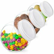 3 Pack Cookie Candy Jar Lids Kitchen Counter Buffet Party Table Containers Set