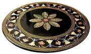 42 Inches Marble Inlay Dining Table Top Hand Made Patio Furniture For Home Decor