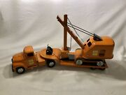 1957 Tonka State Hi-way Ford Semi And Carry-all Lowboy Trailer W/ Steam Shovel