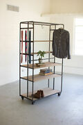 Gwg Outlet Raw Metal Rolling Closet Rack On Metal Casters Cq6609