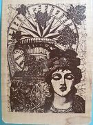 Detailed Collage, Victorian Woman Compass Urn Leaves Inkadinkado Rubber Stamp