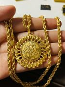 """22k Real Saudi Uae Gold 916 Mens Womens Flower Round Necklace 26"""" Long 4mm 20.5g"""