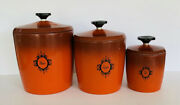Vintage Mid Century Modern Red Aluminum Kitchen Canisters Set Of 3 Atomic Mcm