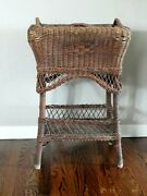 Vintage Wicker Sewing Basket End Side Table Stand - Local Pickup Only Arvada Co
