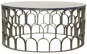 Noir Metal And Stone Mina Coffee Table With Antique Silver Finish Gtab1007asv