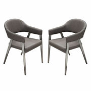 Diamond Sofa Adele Set Of Two Dining Chairs In Grey Leatherette Adeledcgr2pk