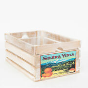 At Home On Main Vintage-style Large Wood Fruit Crate With White Ahomwfc-svw-l