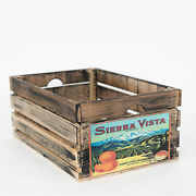 At Home On Main Vintage-style Large Wood Fruit Crate With Black Ahomwfc-svblk-l