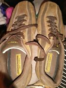 Menand039s Size 8.5 Skechers Leather Upper Material Euc Brown