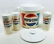 Nos Vintage Pepsi Cola Thermo-serv Ice Bucket And Insulated Tumblers Cups Soda Usa
