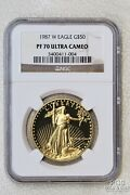 1987-w Eagle 50 Proof Gold Coin Ngc Pf 70 Ultra Cameo Top Pop This Grade 20469