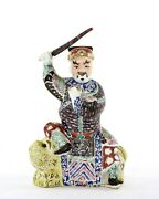 1900and039s Chinois Famille Rose Porcelaine Immortal Buddha Guerrier Andeacutepandeacutee Lion Figure