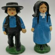 Hand Painted Cast Iron Amish Couple Figures